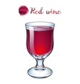 glass of red wine on a short stalk vector image