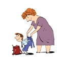 Grandma or the nanny accompanies her grandson to vector image