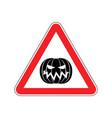halloween warning sign red masquerade hazard vector image vector image
