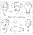 Hot Air Balloons doodle set Vintage vector image vector image