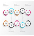 interface icons line style set with mark vector image