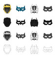 isolated object of hero and mask logo set of hero vector image vector image