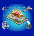 isometric supermarket security system template vector image