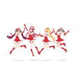 joyful anime manga girls as santa claus in a jump vector image vector image