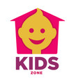 kids zone logo template child palm hands and vector image vector image