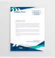 letterhead design with blue geometric shapes and vector image vector image