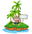 Monkey and island vector image vector image