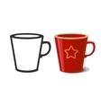 Mug and silhouette of mug vector image vector image