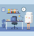 office interior with computer vector image vector image