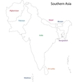 Outline Southern Asia vector image vector image