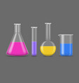 realistic detailed 3d chemical glass flasks set vector image vector image