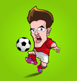 red shirt play football cartoon vector image vector image
