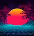 retro background futuristic landscape with palm vector image vector image