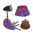 scot bagpipe musician traditional accessories vector image vector image