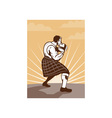 Scot scotsman throwing weight stone put vector image vector image