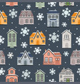 seamless pattern with winter houses vector image vector image