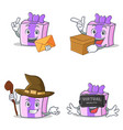 set of gift character with envelope box witch vector image vector image