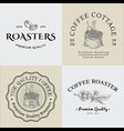 set vintage coffee logo and vector image