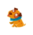 Silly Puppy With The Blue Collar Ready To Go For A vector image vector image