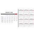 simple calendar 2020 vector image vector image