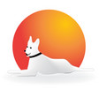 sitting dog with hot sun icon vector image