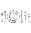 sketch plate and spoon fork and knife vector image