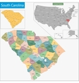 South Carolina map vector image vector image