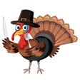 thanksgiving turkey character on white background vector image