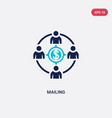 two color mailing icon from crowdfunding concept vector image