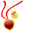 valentines day golden hearts vector image
