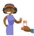 young african woman refusing to take a cigarette vector image vector image