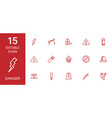 15 danger icons vector image vector image