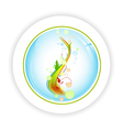 abstract life tree in round icon vector image vector image