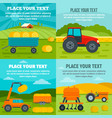 agricultural machines banner set flat style vector image