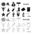 attributes of the wild west black icons in set vector image vector image