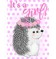baby shower greeting card with cute hedgehog girl vector image