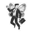 businessman with butterfly wings sketch vector image vector image