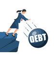 businesswoman pushing debt weight out vector image vector image