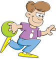 Cartoon boy bowling vector image vector image