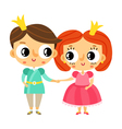 Cartoon prince and princess holding hands cute vector image