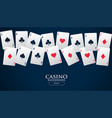 casino playing cards placed in a line background vector image
