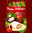 christmas and new year dinner festive poster vector image vector image
