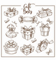 christmas collection of symbolic traditional gift vector image