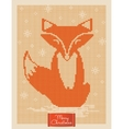 Christmas greeting card with knitted fox vector image