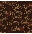 Coffee seamless pattern Lettering Latte vector image