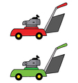 Collage Of Red And Green Lawn Mowers vector image vector image