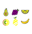 collection fruits fresh healthy food logo vector image