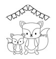 cute foxes animals with garlands party hanging vector image vector image