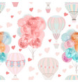 cute pattern with air balloons and hearts vector image