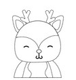 dotted shape adorable and shy deer wild animal vector image vector image